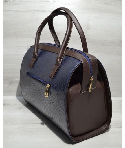 Каркасная женская сумка Саквояж синяя кобра с коричневым гладким
