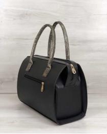 Каркасная женская сумка Саквояж черный матовый с золотыми ручками