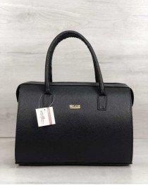 Каркасная женская сумка Саквояж черный матовый