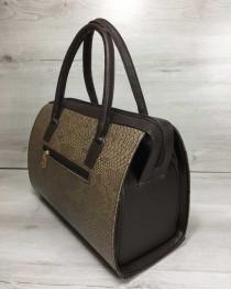 Каркасная женская сумка Саквояж коричневая рептилия с коричневыми ручками