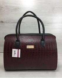 Каркасная женская сумка Саквояж бордовый крокодил с черными ручками