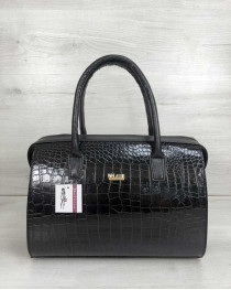 Каркасная женская сумка Саквояж черный лаковый крокодил