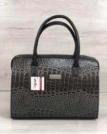 Каркасная женская сумка Саквояж серый лаковый крокодил