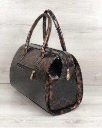 Каркасная женская сумка Саквояж лаковый леопард