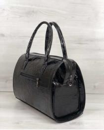 Каркасная женская сумка Саквояж черный лаковый (никель)