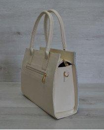 Каркасная сумка Селин бежевого цвета с вставкой крокодил голубой