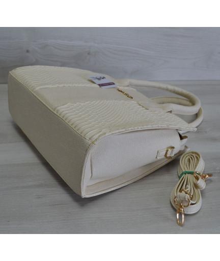 Каркасная женская сумка Селин бежевого цвета