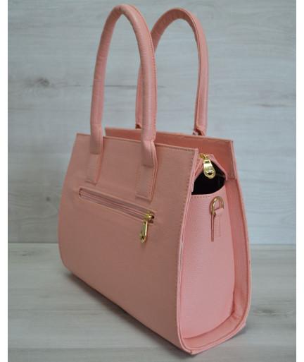 Каркасная женская сумка цвета пудры