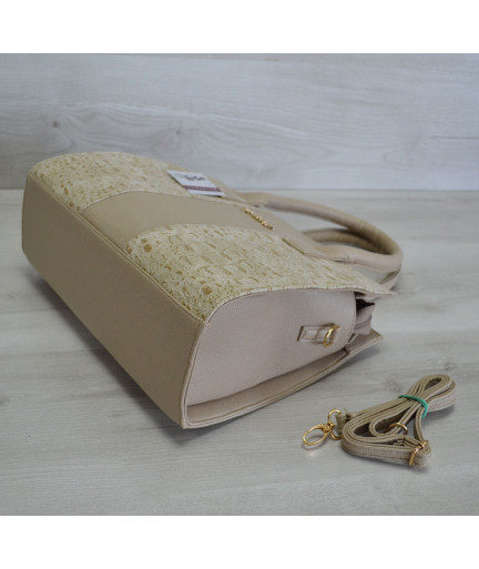 Каркасная женская сумка Селин темного бежевого цвета