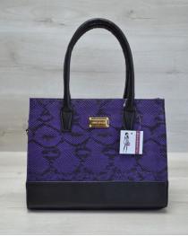 Каркасная женская сумка Селин сиреневая змея с черным гладким
