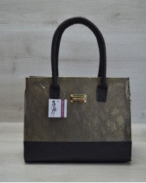 Каркасная женская сумка Селин золото с черным гладким