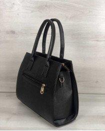 Каркасная женская сумка Селин черного цвета со вставкой блеск