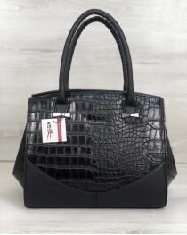 Каркасная женская сумка Виржини черного цвета со вставками черный крокодил