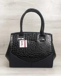 Каркасная женская сумка Виржини черного цвета со вставками черный лаковый крокодил