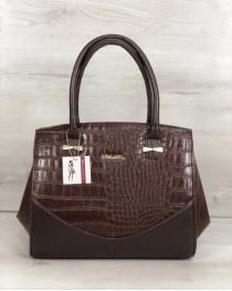 Каркасная женская сумка Виржини коричневого цвета со вставками коричневый крокодил