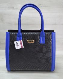Женская сумка Бочонок черная рептилия с синим гладким