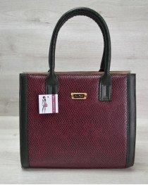 Женская сумка Бочонок бордовая змея с зеленым гладким