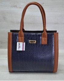 Женская сумка Бочонок синий крокодил с рыжим гладким