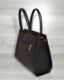 Женская сумка Бочонок черного цвета с замшевой вставкой