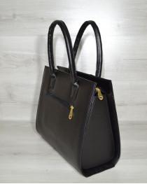Женская сумка Бочонок черный с черной лаковой вставкой