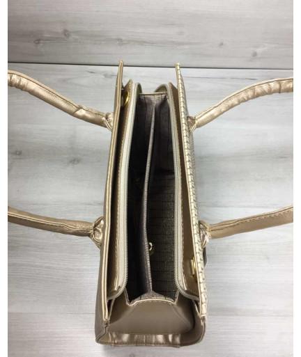 Женская сумка Бочонок золотого цвета со вставкой бежевая рептилия