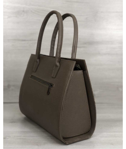 Женская сумка Бочонок кофейного цвета со вставкой кофейная рептилия