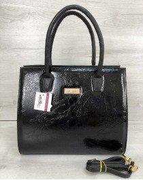 Женская сумка Бочонок черный лак