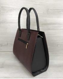 Женская сумка Бочонок бордовая змея со вставкой черный замш