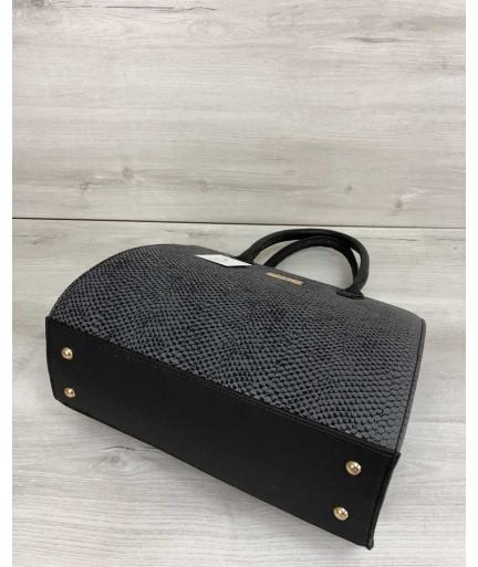 Женская сумка Бочонок серая змея