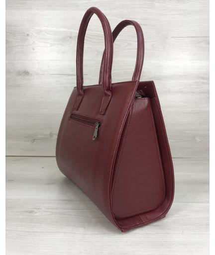 Женская сумка Бочонок бордового цвета со вставкой бордовый крокодил
