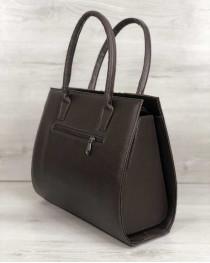Женская сумка Бочонок коричневого цвета со вставкой барбери