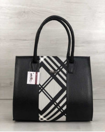 Женская сумка Бочонок черного цвета со вставкой барбери
