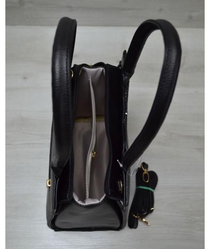 Классическая женская сумка Треугольник черного цвета с черными блестками