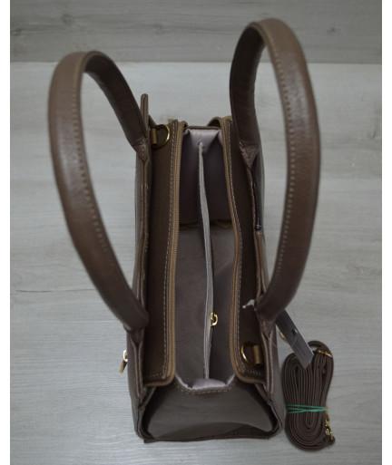 Классическая женская сумка Треугольник кофейного цвета с коричневым гладким