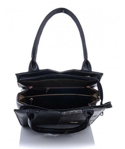 Классическая женская сумка Треугольник черного цвета с серым крокодилом