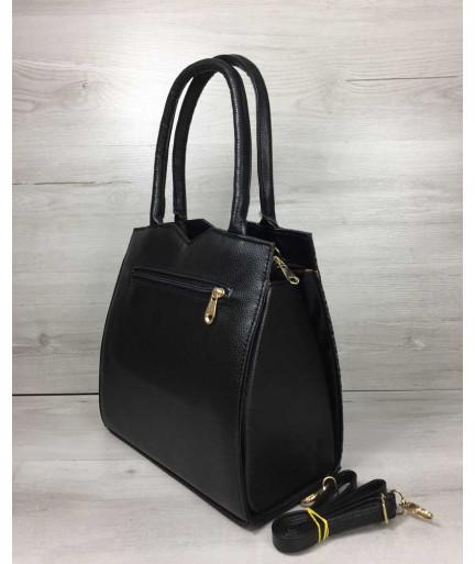 Классическая женская сумка Треугольник черного цвета с серой змеёй