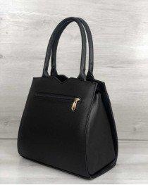 Классическая женская сумка Треугольник черного цвета со вставкой золото
