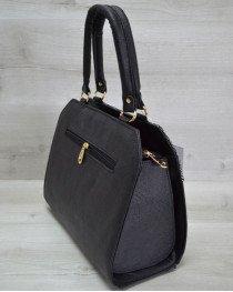 Женская сумка Конверт черная с серебром