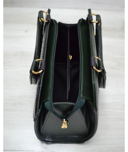 Женская сумка Конверт зеленая с черной коброй