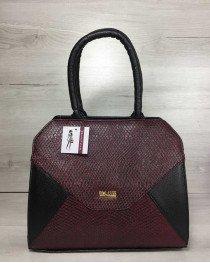 Женская сумка Конверт черная с бордо змея