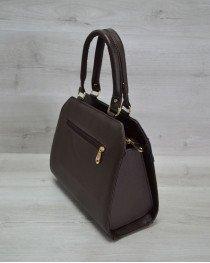 Женская сумка Конверт коричневая с синей коброй