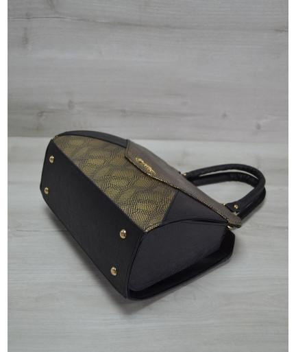 Женская сумка Конверт черная с золотом