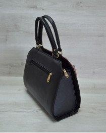 Женская сумка Конверт черная с бордовым золотом