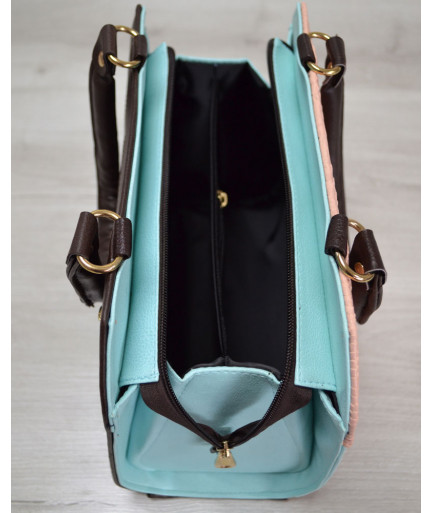Женская сумка Конверт коричневая с пудрово-голубой вставкой