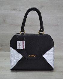 Женская сумка Конверт черная с белой рептилией