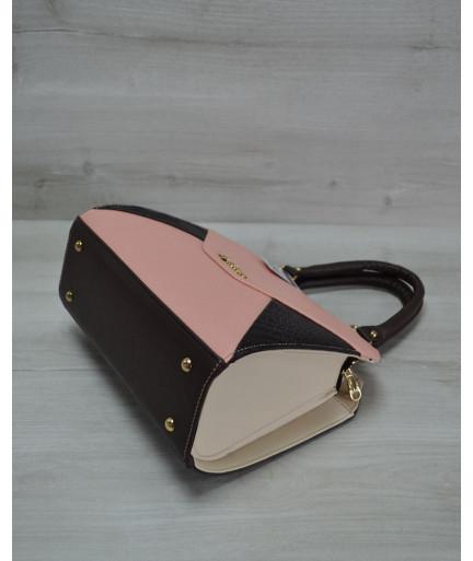 Женская сумка Конверт коричневая с пудрово-коричневой вставкой