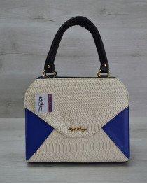 Женская сумка Конверт электрик со вставкой бежевая рептилия