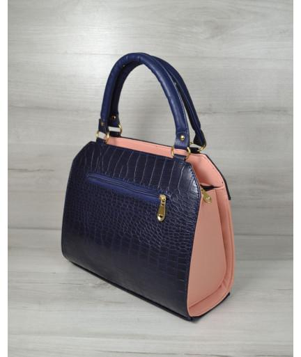 Женская сумка Конверт пудра с синем крокодилом
