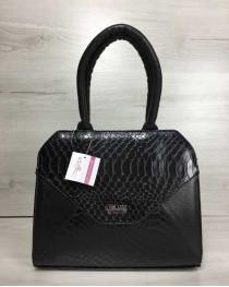 Женская сумка Конверт черного цвета со вставкой черная кобра
