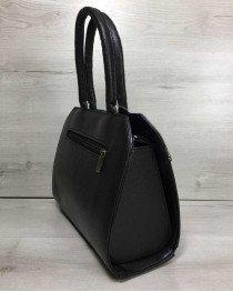 Женская сумка Конверт черного цвета со вставкой металлик